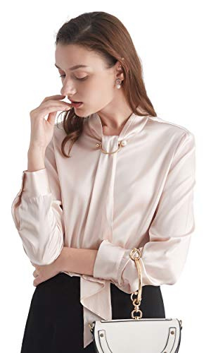 LilySilk Pale Pink Silk Blouse Tie Long Sleeve Feminine Stand Collar Silk Blouses for Women 19 Momme Light Beige - Pink Blouse Silk