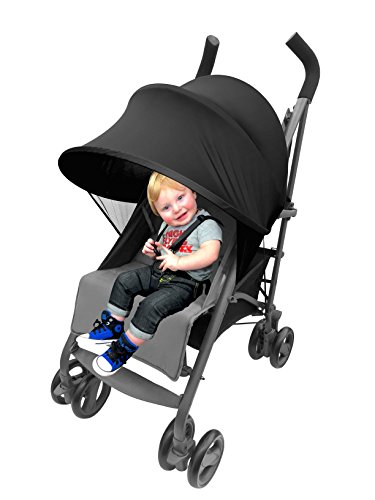Compact Stroller Sunshade - Easy Fit Universal Stroller Canopy Extender Large and Compact Sun Shade in Black by Luvit