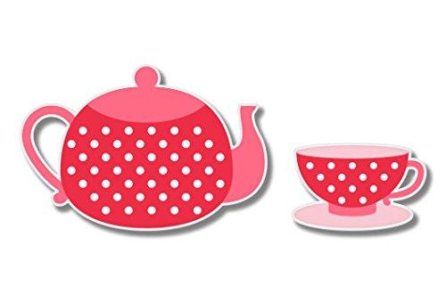 - Tea Time Cute Teapot and Cup Vinyl Sticker - Car Phone Helmet - SELECT SIZE