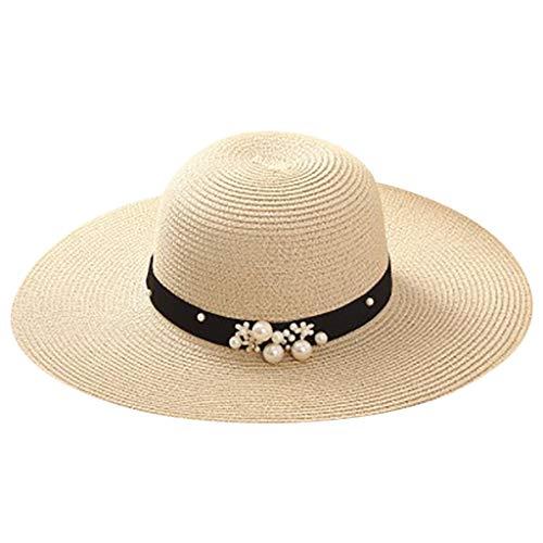(Women Leisure Sun Straw Visor Hat-Fisherman Handmade Pearl Holiday Cap-UV Protection Headband Solar Face Shield Hat Beige)