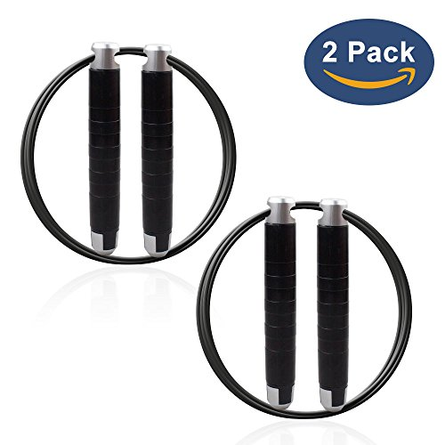 LOVK Jump Rope Crossfit, 2PCS Speed Skipping Rope Weighted Adjustable for Kids Women Men Skip Training,Jumping Workout,Boxing,Gym,Fitness Exercise and Cardio