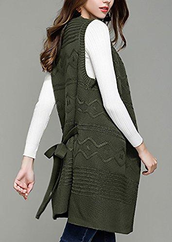 Inverno Casual Colore Maglione Particolari Maglie Autunno militare Lungo Cardigan Puro Elegante Gilet Maglieria Donna Larghi verde Ragazza 6gwBH0qzw