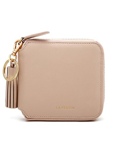 Card Square Coin Holder Small Clutch Barbie Wallet Leather Color Genuine Tassel Zipper Womens LA'FESTIN Nude TUYa88