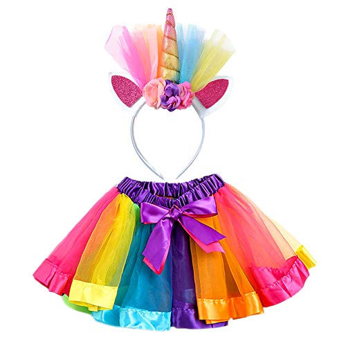 Halloween Unicorn Costume Girls Rainbow Tutus with Horn Dress up for Little Pony Party Favors (L (4-8years))
