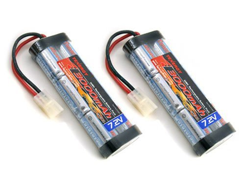 Tenergy 2 pcs 7.2V 3000mAh Flat NiMH High Power Battery Packs with Tamiya Connectors for RC Cars