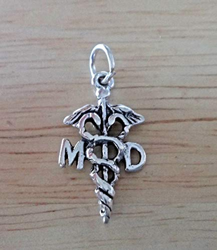 Sterling Silver 22x11mm Medical says MD Doctor Caduceus Charm Jewelry Making Supply, Pendant, Sterling Charm, Bracelet, Beads, DIY Crafting and Other by Wholesale Charms ()
