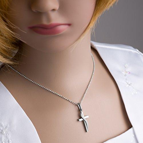 fish chaîne pour garçons, filles en argent sterling 925 avec un pendantif croix