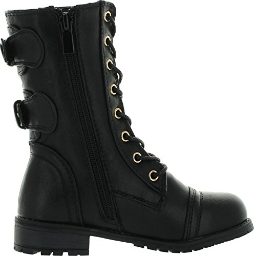 Mango-79 Kids Combat Lace Up Quilted Dual Buckle Zip Decor Mid Calf Motorcycle Boots
