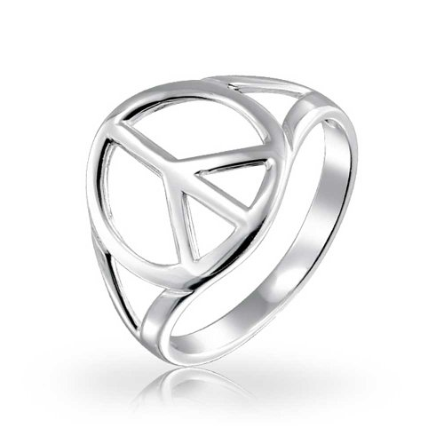 Open Symbol World Peace Sign Ring For Teen For Women 925 Sterling Silver Spilt Shank Band