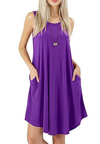 Tee-Shirt Manches Courtes Dcontract sans Manches pour Femmes Swing Dress avec Deux Poches Latrales Violet