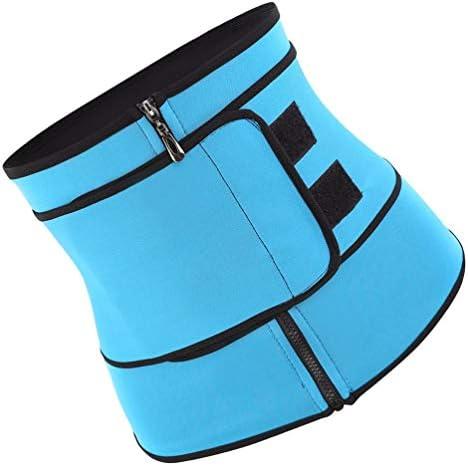 HEALLILY Neoprene Sweat Waist Trainer Yoga Sauna Corset Trimmer Belt Cincher Body Shaper Slimmer for Women Weight Loss Waist Blue (Size L) 2