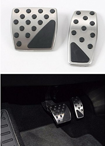 FMtoppeak 2 Pcs Automatic Transmission Stainless Steel Gas & Brake Pedal Kit For 2014 UP Jeep Renegade
