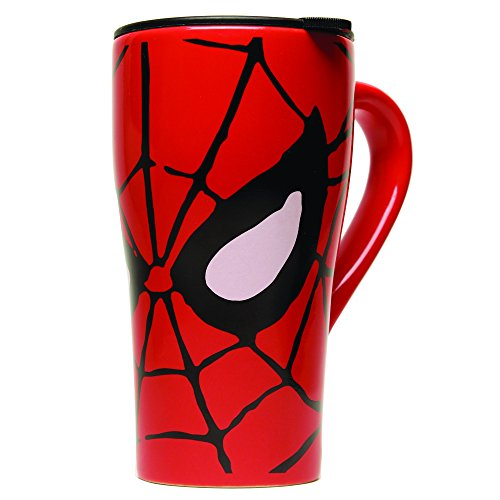 Silver Buffalo MC7088 Marvel Comics Spider-Man Eyes Ceramic Travel Mug with Friction Lid, 18-Ounces