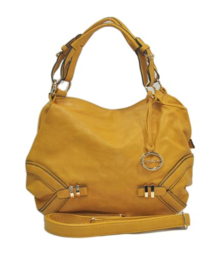 """Sori Collection """"335"""" Trendy Fashion Satchel with Long Strap (Yellow)"""
