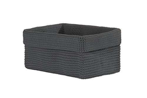 Heritage Lace Mode Crochet Rectangle Basket, 10 by 6 by 7-Inch, Charcoal