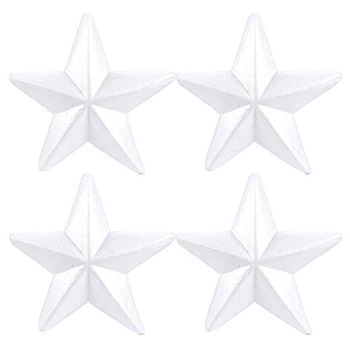 Craft Foam Stars - 4-Piece Star-Shaped Polystyrene Foam for Arts and Craft Use - Makes DIY Ornaments and Decorations, White, 10.4 x 3 x 10.4 inches