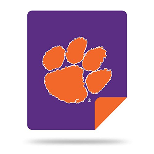 Officially Licensed NCAA Clemson Tigers Denali Silver Knit Throw Blanket, Purple, 60