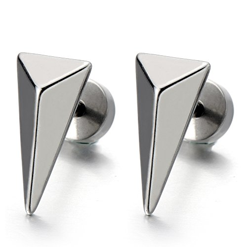 Unisex Stainless Steel Pyramid Earrings