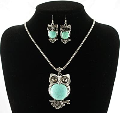 Fit&wit Vintage Style Blue Turquoise Stone Owl Pendant Necklace Drop & Dangle Earrings Jewelry Sets