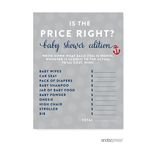 Andaz Press Nautical Baby Shower Collection, Is the Price Right? Game Cards, 20-pack