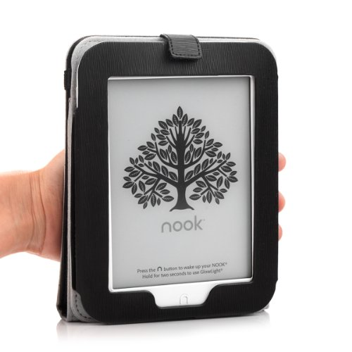 Barnes & Noble NOOK GlowLight Plus eReader Case - Mulbess Leather Case Cover with Kickstand and Elastic Hand Strap for NOOK GlowLight Plus Color Black by Mulbess (Image #4)'