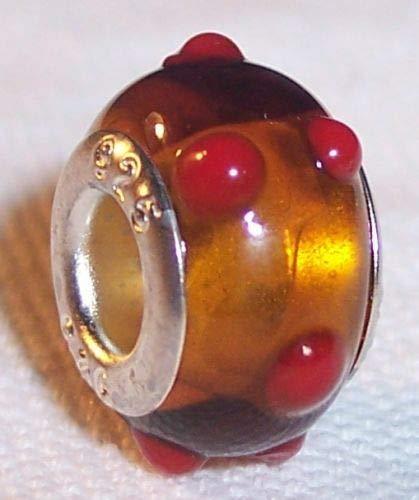 - Golden Brown Red Dot Murano Glass Bead for Silver European Charm Slide Bracelets