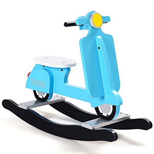 - Heize best price Blue Wooden Rocking Horse Kids Ride On Toy Toddler Motorcycle Rocker Chair Flat Seat(U.S. Stock)