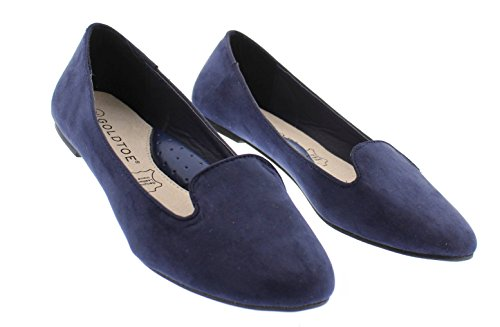 Loafer Women's Smoking Support Suede Navy Gold Faux With Shoes Toe On Comfort Slip Jasper Arch Flat 5YwqggRx