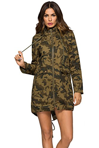 Escalier Women`s Military Anorak Hoodie Jacket Casual Camouflage Trench Coat with Pocket XS