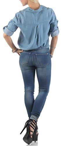 malito 3/4 Camisa de Mezclilla al nudo En Blusa 3450 Mujer Talla Única azul claro