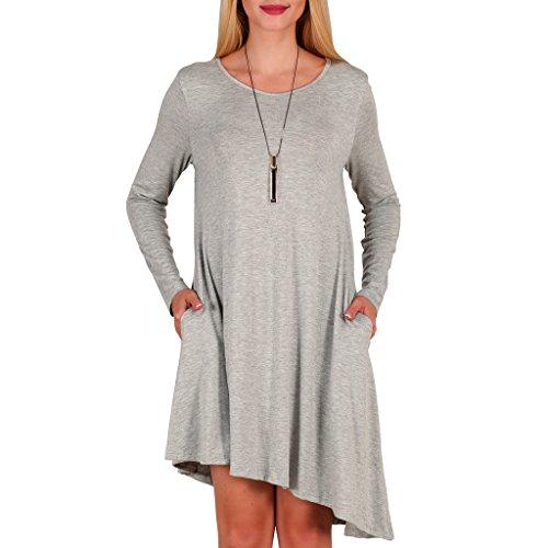 Tee Flowy Dress Gray Shirt Dresses Irregular Women's Aierbulu Tunic Cotton Longsleeve pa5qxFanwR