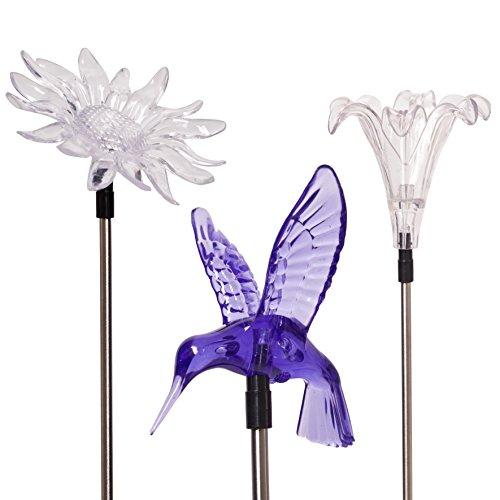 Solar Garden Stake Lights, Flower, Hummingbird, Butterfly...