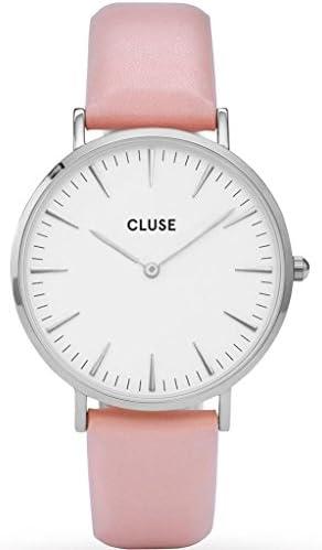 Cluse Women s La Boheme 38mm Pink Leather Band Metal Case Quartz White Dial Analog Watch CL18214