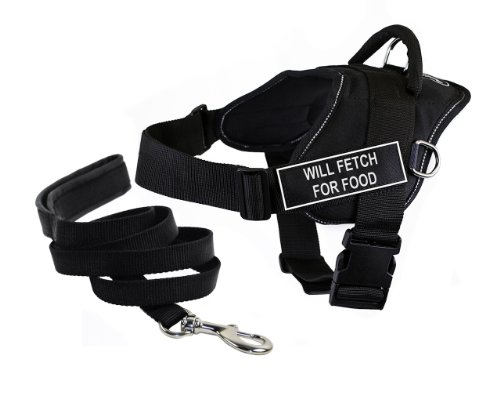 Dean & Tyler's DT Fun ''WILL FETCH FOR FOOD'' Harness with Reflective Trim, Medium, And 6 ft Padded Puppy Leash. by Dean & Tyler