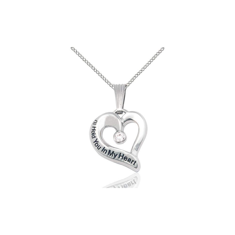 DiamondJewelryNY Ill Hold You in My Heart Pendant with a Crystal Swarovski Stone on an 18 Inch Chain