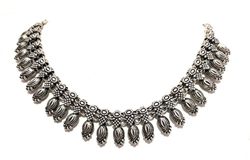 ace women Antique silver oxidized metal beads Flax seed pattern tribal jewelry ()