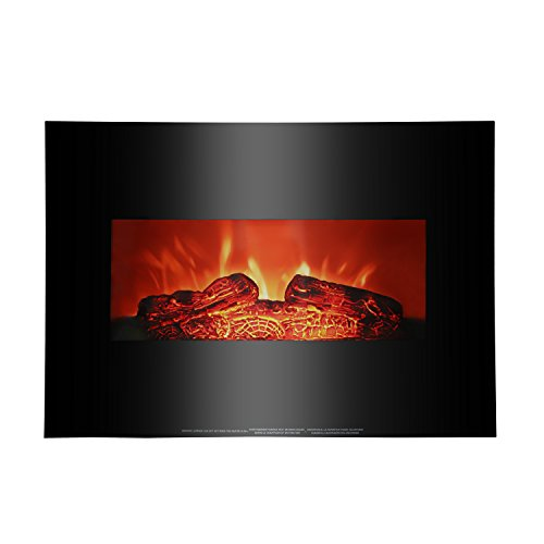 ROVSUN 26'' Wall Mounted Electric Fireplace 750W/1500W Modern Adjustable Space Heater with Realistic Flame and Logs,Flat Panel,CSA Certification(Black) (Electric Flat Fires Wall Mounted)