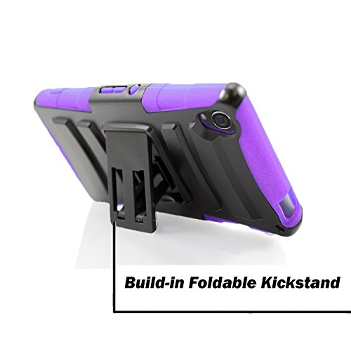 Xperia Z3 Case, Sony Xperia Z3 D6653 StarShop Dual Layer Holster Case with Kickstand and Locking Belt Swivel Clip Purple