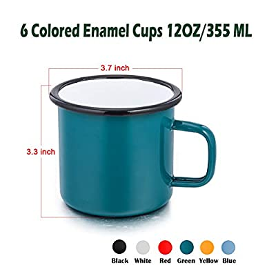 P&P CHEF Enamel Camping Mug, 6 Pack 12 Ounce (355 ML) Coffee Mugs Cups for Indoors and Outdoors, Lightweight & Portable for Breakfast Party Camping Travel Picnic Fishing