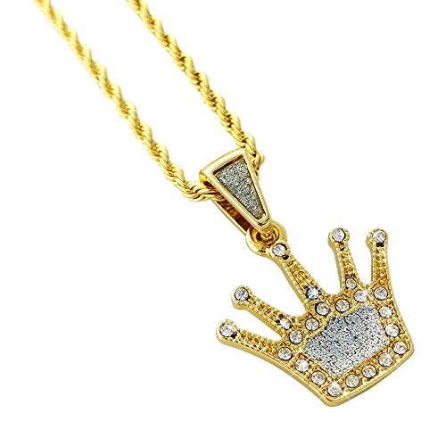 Iced Mini Crown Pendant Gold Alloy Necklace with 24