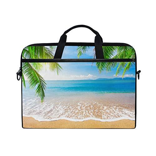 JOYPRINT Laptop Sleeve Case, Tropical Ocean Sea Beach Palm Tree 14-14.5 inch Briefcase Messenger Notebook Computer Bag with Shoulder Strap Handle for Men Women Boy Girls