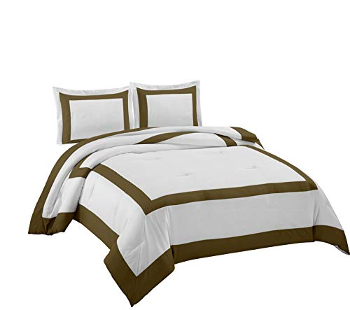 Chezmoi Collection Carlton 3-Piece Hotel Style Square Framed Bedding Comforter Set (Queen, White/Coffee)