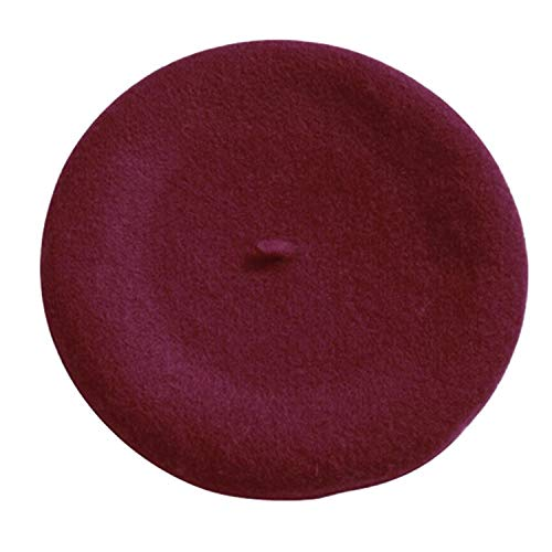 2018 Fashion New Women Wool Solid Color Beret Female Bonnet Caps Winter All Matched Warm Walking Hat Cap 16 Color,Wine Red