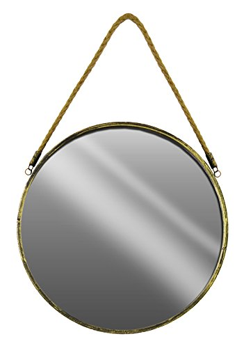 Urban Trends Metal Round Wall Mirror with Rope Hanger SM Tarnished Finish Gold, Small (Living Collection Urban Mirror)