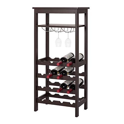 Kinbor Bamboo Wine Rack Storage, 16 Bottles Free Standing Wine Holder Display Shelf with Glass Hanger & Shelf (Shelf Display Kit Glass)