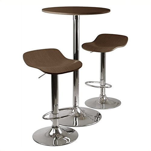 Pemberly Row 3pc Pub Table and Stools Set in Cappuccino