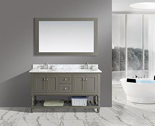UrbanFurnishing.net - Silvia 60-Inch (60'') Bathroom Sink Vanity Set with White Italian Carrara Marble Top - Distressed Gray by UrbanFurnishing.net