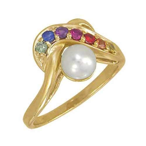 EQUALLI Rainbow Sapphire & Pearl Classic Ring 1.4ct in 14K Yellow Gold (Size: 8) (14k Sapphire Multi Color)