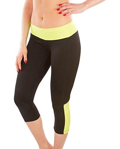 Moet Fashion Women's Three-Quater Tights Capri Workout & Yoga Stretch Athletic Leggings Pants (Medium, Yellow)