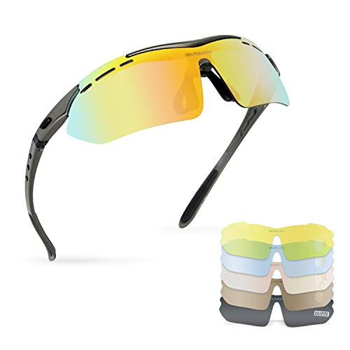 DON PEREGRINO High Definition Bike Glasses for Men Women with 6 Interchangeable Lenses, Tr 90 Frame Sports Sunglasses for Cycling Running Baseball